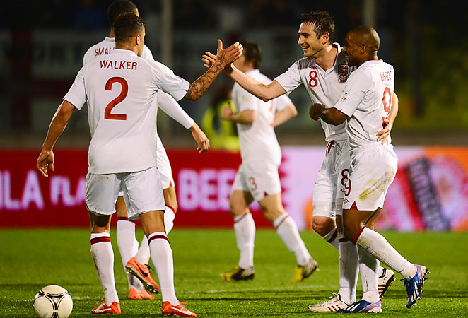 Frank Lampard celebrates his goal in England's big win over San Marino in World Cup Qualifying.