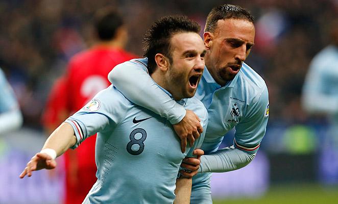 Mathieu Valbuena celebrates scoring France's second goal in their 3-1 win over Georgia, a game where he set up the other two goals as well.