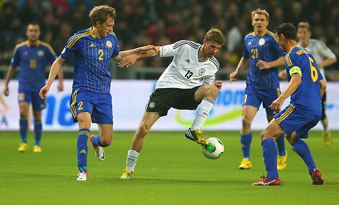 Thomas Mueller scored one of Germany's three goals as they beat Kazakhstan 3-0 on Friday.