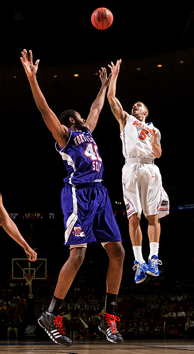 Florida's Scottie Wibekin attempts a shot against Northwestern State's Marvin Frazier on Friday.