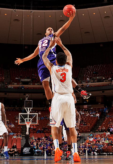 Northwestern State's Brison White drives for a layup in his team's loss to Florida on Friday.