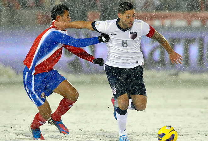 Clint Dempsey battles for the possession in the snow at Dick's Sporting Goods Park in Commerce City.