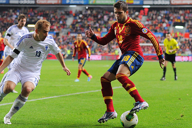 Jordi Alba scored one of Spain's four goals in its 4-0 victory over Italy in the Euro 2012 final.