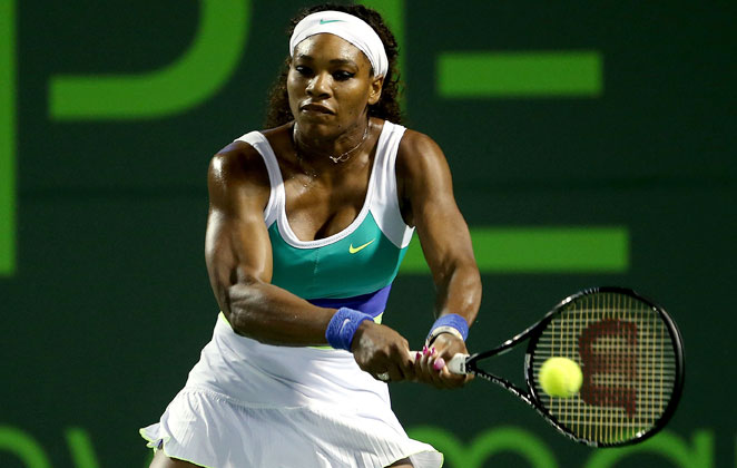 After taking a bike to her third-round match, Serena Williams beat Ayumi Morita 6-3, 6-3 Saturday.