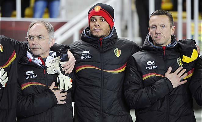 Vincent Kompany watches the Belgium-Macedonia match last Friday.