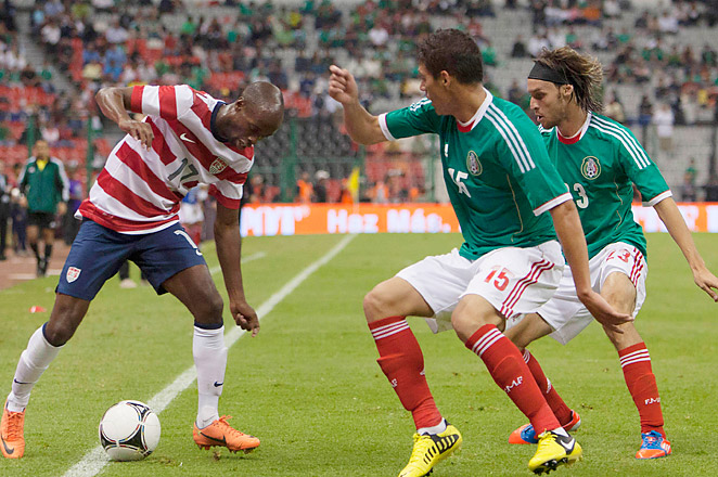 DaMarcus Beasley and the U.S. won an international friendly against Mexico at Estadio Azteca in August.