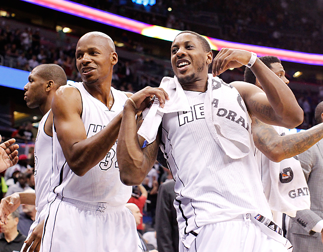Ray Allen and Mario Chalmers hit a combined eight three-pointers to pace the Heat to a 15-of-28 performance from behind the arc against the Magic in Orlando. Despite playing its second straight game without Dwyane Wade, who sat out with a sore knee, Miami had little trouble defeating Orlando, especially with LeBron James' 24 points, 11 assists and nine rebounds.