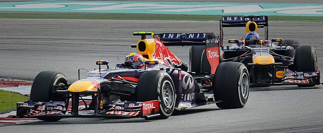 Mark Webber (left) and Sebastian Vettel (right) also had a troublesome incident in 2010.