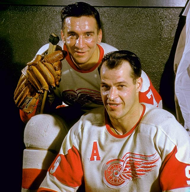 "Howe poses for a portrait with Red Wings teammate Ted Lindsay in the locker room at Olympia Stadium in Detroit in January 1957. Howe, Lindsay and Sid Abel were known as ""The Production Line"" and the trio finished first, second an third in scoring during the 1949-50 season."