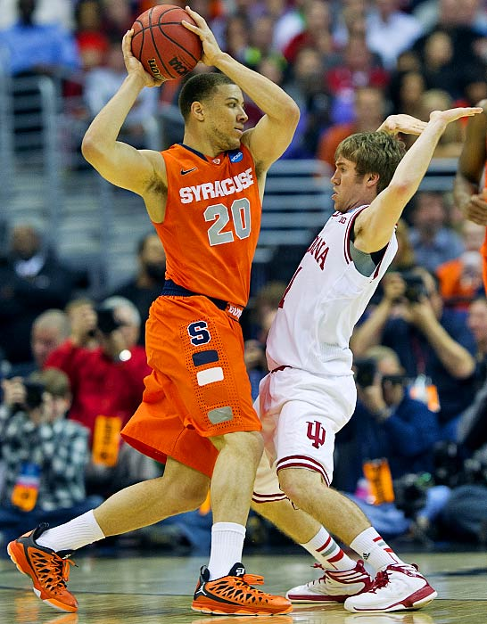 <bold>Brandon Triche helped knock the second one seed out of the tournament. Coach Jim Boeheim and the Orange haven't been to the national semifinals since Carmelo Anthony led them to the 2003 title.</bold> <bold>Defeated Montana 81-34</bold> <bold>Defeated Cal 66-60</bold> <bold>Defeated Indiana 61-50</bold>