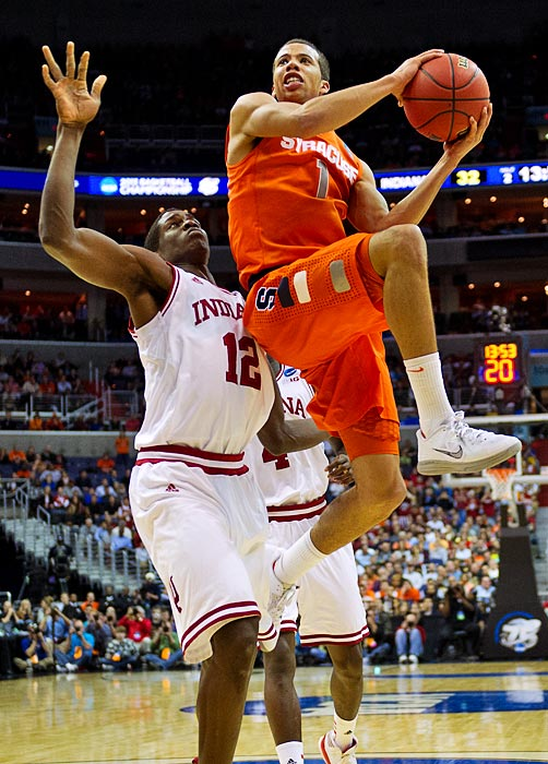 <bold>Michael Carter-Williams led Syracuse with 24 points.</bold> <bold>Defeated Montana 81-34</bold> <bold>Defeated Cal 66-60</bold> <bold>Defeated Indiana 61-50</bold>
