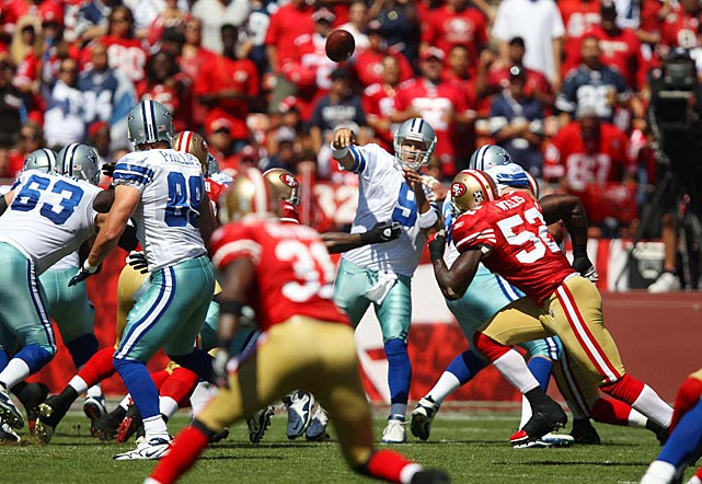 Romo earned major points for toughness in a Week 2 game at San Francisco, playing with a fractured rib and punctured lung and still leading Dallas to a 27-24 overtime victory. A Romo pass that Jesse Holley turned into a a 77-yard catch and run set up the deciding field goal.