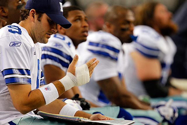 A severely bruised right hand put Romo on the bench in a Week 16 game against Philly. He played despite the injury in Week 17, with Dallas needing a win over the Giants to make the playoffs. New York prevailed and marched through the playoffs to win the Super Bowl.