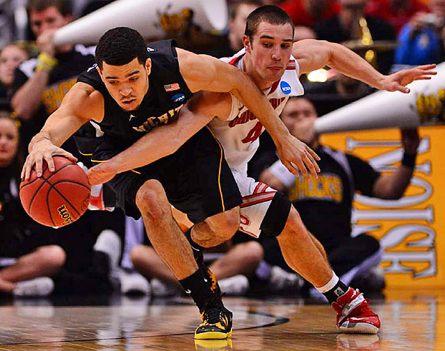 <bold>Ohio State's Aaron Craft (4) and Wichita State's Fred Van Vleet (23) diving for a loose ball in an Elite Eight game won by the underdog Shockers of Wichita State. </bold> <bold>Defeated Pittsburgh 73-55</bold> <bold>Defeated Gonzaga 76-70</bold> <bold>Defeated La Salle 72-58</bold> <bold>Defeated Ohio State 70-66</bold> <bold>Next: vs. Louisville</bold>