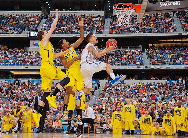 <bold>Scottie Wilbekin and the Gators were no match for Michigan. It was the third straight year Florida lost in a regional final. </bold> <bold>Defeated S. Dakota State 71-56</bold> <bold>Defeated VCU 78-53</bold> <bold>Defeated Kansas 87-85</bold> <bold>Defeated Florida 79-59</bold> <bold>Next: vs. Syracuse</bold>