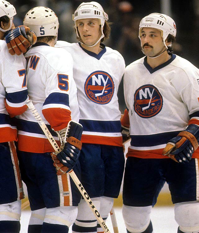 Mainstays of the Islander dynasty. Bossy and superb two-way center Bryan Trottier were linemates who complemented each other brillantly. With winger Clark Gillies (not pictured), they were known as Trio Grande. Potvin, a three-time Norris Trophy-winner was a bruising defender and offensive force.