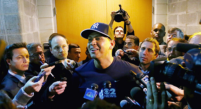 Alex Rodriguez had not spoken to reporters since February's report in the Miami New Times.