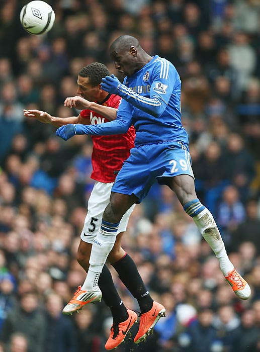 Chelsea forward Demba Ba battled Rio Ferdinand throughout their FA Cup quarterfinal replay, but Ba got the better of United four minutes into the second half when he volleyed home the only goal of the match.