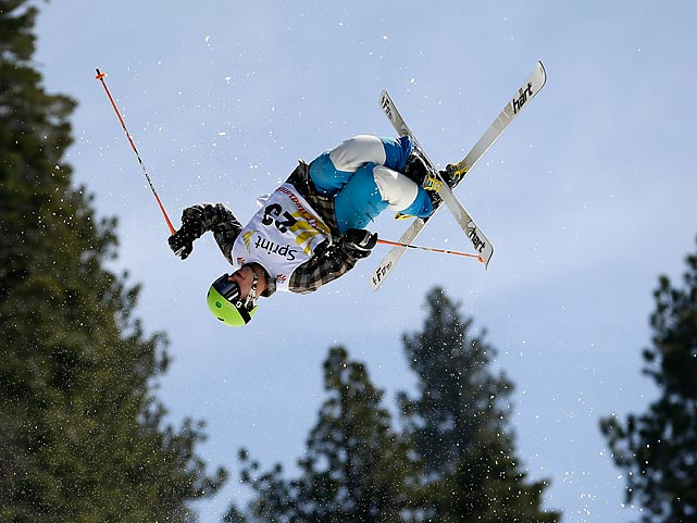Austin Bourret leaves the ground behind at the U.S. Freestyle Moguls National Championship in South Lake Tahoe, Calif.