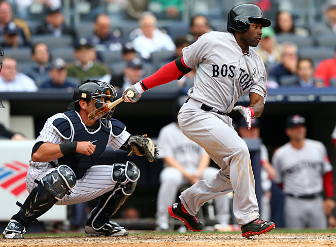 Jackie Bradley had an impressive major league debut both at the plate and in the field in Boston's 8-2 win.
