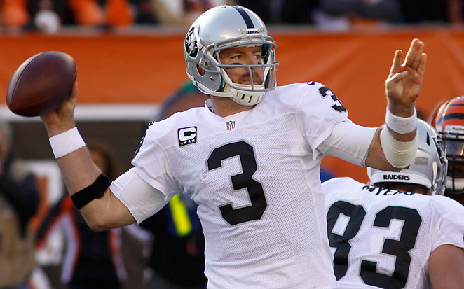 Carson Palmer was 8-16 in Oakland, with an 83.5 rating, 35 touchdowns and 30 interceptions.