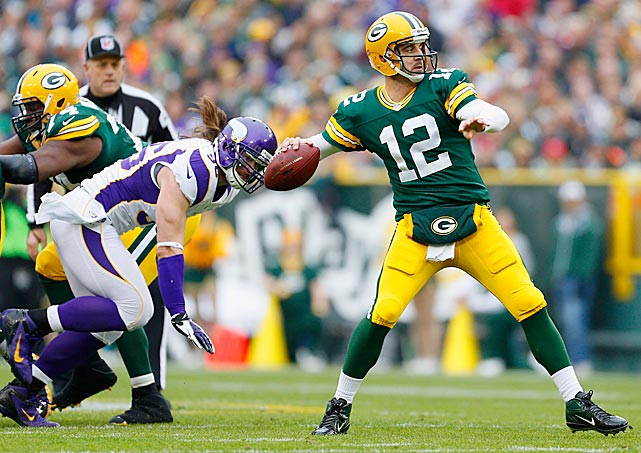 Aaron Rodgers got one of his favorite receivers back on his 29th birthday -- Greg Jennings returned after missing seven weeks with an injury -- and both Green Bay stars had the misfortune of watching Adrian Peterson shred the Packers defense for 210 rushing yards. But Mr. Rodgers wasn't too shabby himself in his only Birthday Game, completing 27 of 35 passes for 286 yards with one touchdown and one interception as Green Bay came out of top, 23-14.