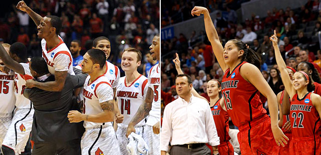 The 2013 NCAA tournament marked the 10th time in history that a school had both it's men's and women's teams in the Final Four. Louisville's men went on to win the title while its women lost in the championship game to Connecticut. Here's a look at what happened in the other nine instances.
