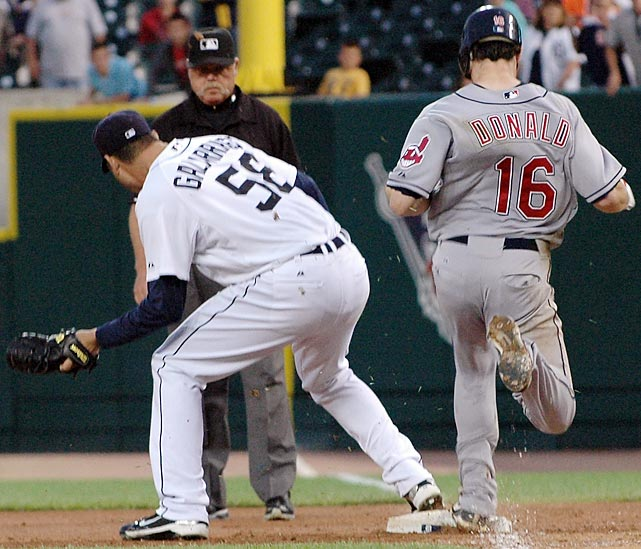 Armando Galarraga looked to have finished his perfect game when he got Cleveland's Jason Donald to ground to first with two outs in the top of the ninth. Tigers first baseman Miguel Cabrera ranged to his right, spun and threw to Galarraga covering first in time for the 27th out, but umpire Jim Joyce called Donald safe, a mistake he immediately realized upon seeing the video after the game. Galarraga then got Trevor Crowe to groundout, completing what has been called a 28-out perfect game but what is officially a one-hit shutout.