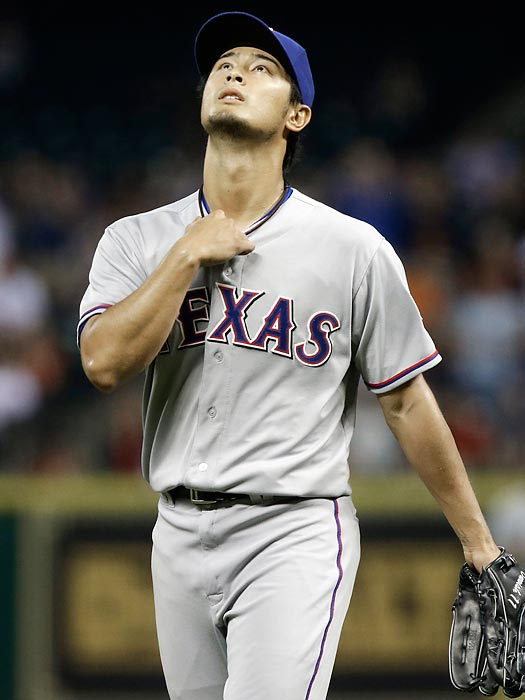 Yu Darvish had authored one of the most dominant pitching performances in major league history, striking out 14 of the 26 batters he had faced, when Astros shortstop Marwin Gonzalez came to the plate with two out in the ninth. On the first pitch, Gonzalez hit a low liner right back to the mound that had just enough speed, and bounced at just the right moment, to get through Darvish's legs before he could get his glove down. Darvish was then removed from the game, which Texas won 7-0.