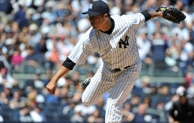 Hiroki Kuroda added to the Yankees' injury woes Wednesday, leaving a game only four outs in after a line drive bruised his finger.