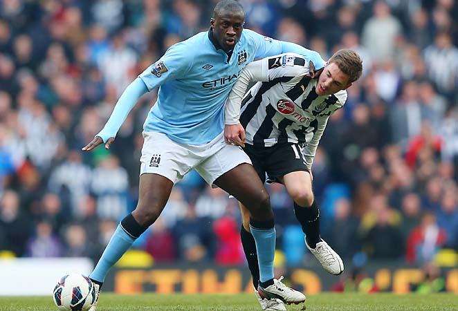 Yaya Toure are in second place in the Premier League, 15 points behind Manchester United.