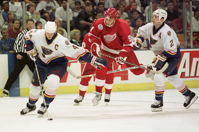 Pronger and Al MacInnis (#2) were a formidable defense pair for the Blues. See where the two blueliners rank in Brian Cazeneuve's <italics>Top 20 Defenseman of the Post-Bobby Orr Era</italics> gallery.