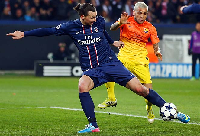 Zlatan Ibrahimovic scores during a 2-2 draw with Barcelona on Tuesday.