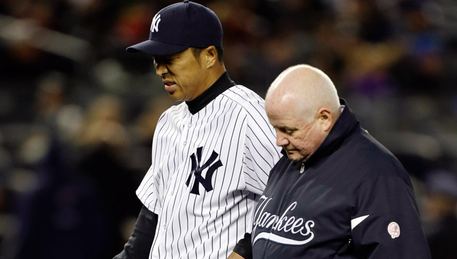 Hiroki Kuroda left his first start of the season because of a finger bruise caused by a line drive.