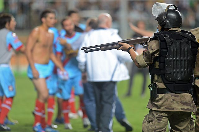 It was Arsenal vs. arsenal after Atletico Mineiro beat the former, 5-2, in Belo Horizonte, Brazil. The defeated Argentinian club then took on local riot police. Fortunately, their match didn't end in a shootout, though seven players were detained and the club paid a $20,000 fine to get them off the hook.