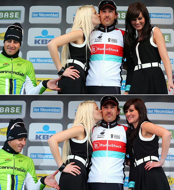 Cyclist Peter Sagan (left) makes a cheeky move during the ceremony honoring winner Fabian Cancellara (center), proving that he doesn't mind bringing up the rear in a pinch.