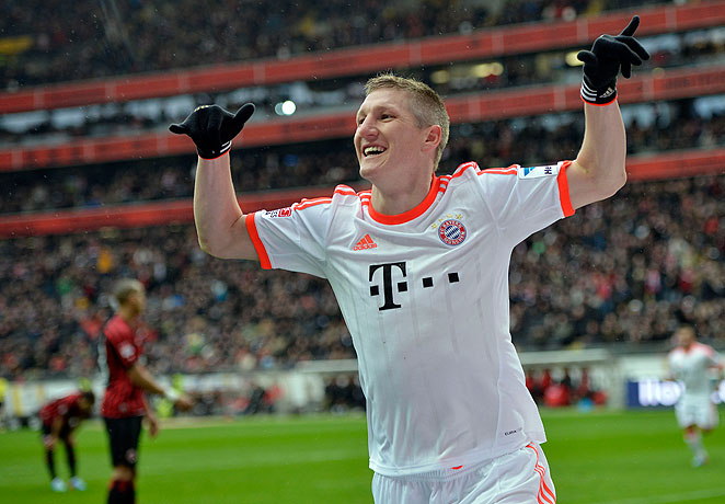 Bastian Schweinsteiger's superbly taken backheel goal delivered Bayern's 22nd title in the Bundesliga.
