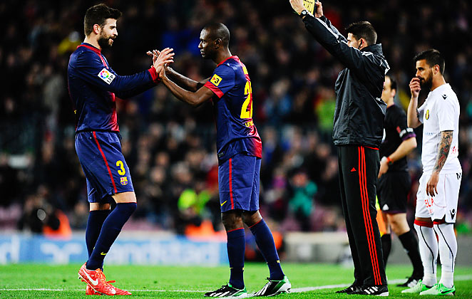 Eric Abidal returned to first team action after his second lengthy layoff due to liver problems.