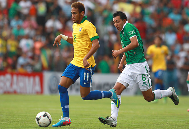 Neymar scored his first two international goals of 2013 against Bolivia on Saturday.