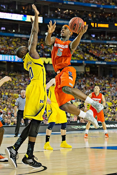 C.J. Fair led the Orange with 22 points, but curiously didn't get a chance to try a game-tying three-point attempt when Syracuse retook the floor after a timeout in the final seconds.