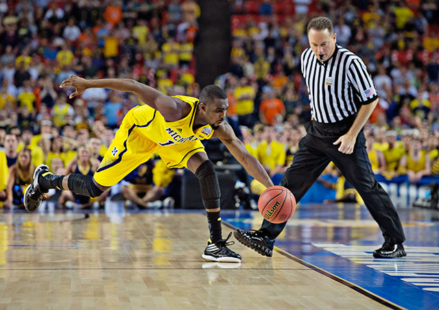 Tim Hardaway Jr. saved this errant pass from going out of bounds as the Wolverines flirted with disaster in the final minutes.
