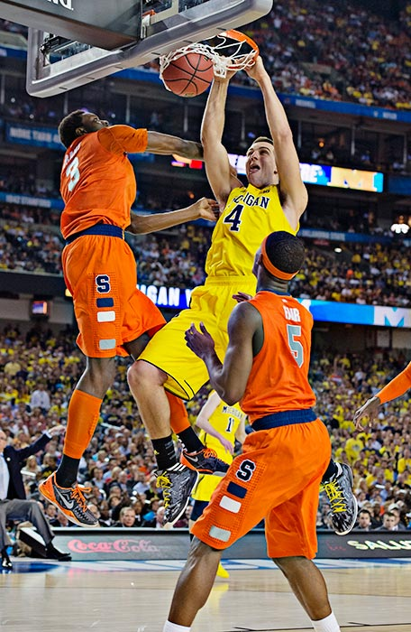 Mitch McGary scored 10 points for Michigan on a night when teammate Trey Burke, the AP Player of the Year, struggled and finished with just seven points.