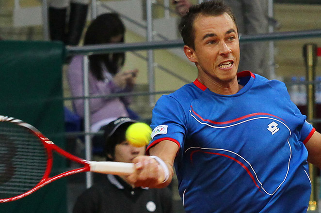 Lukas Rosol had 31 aces in the match to earn his sixth Davis Cup win, defeating Evgeny Korolev.