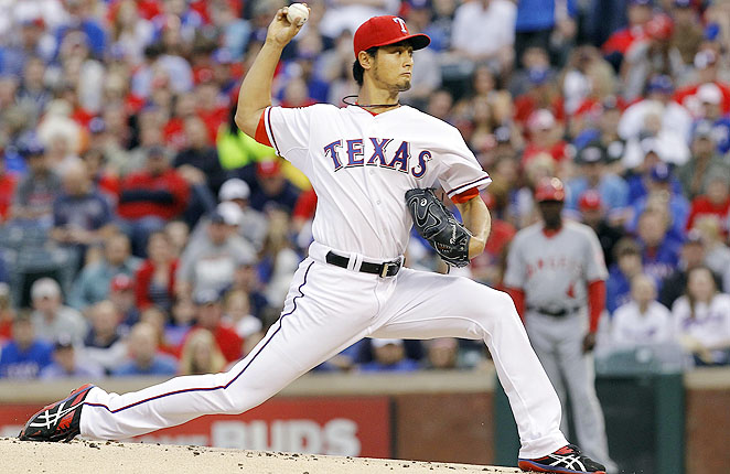 Darvish's first outting after nearly throwing a perfect game ended early due to a blister on his throwing hand.