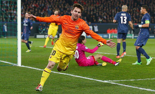 Lionel Messi scored the opening goal against PSG in the teams' Champions League quarterfinal first leg.
