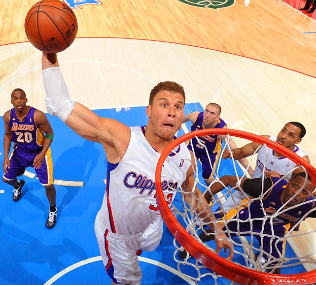 Blake Griffin rises up to throw down a slam during the Clippers' 109-95 win over the Lakers on Sunday afternoon. The Clippers clinched their first ever Pacific Division crown with the win.