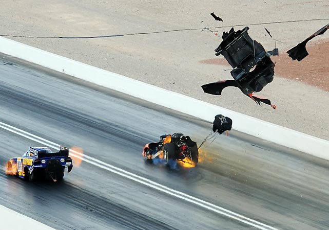 Johnny Gray's engine in his Dodge Charger detonates and the body of his car blows off during the NHRA Funny Car event at The Strip at Las Vegas Motor Speedway.