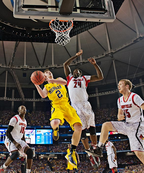 With Trey Burke on the bench with foul trouble, reserve Spike Albrecht stole the show in the first half, scoring 17 points. He went scoreless in the second half.