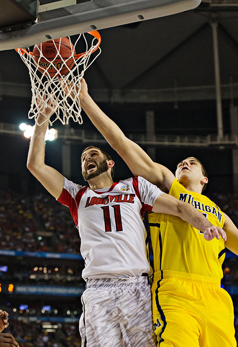 Luke Hancock scored 22 points off the bench for Louisville and was named most outstanding player of the Final Four.