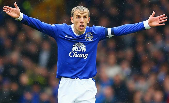 Phil Neville and Everton are in sixth place in the Premier League.